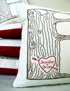 Shower/Wedding gift, Personalized Tree Heart Pillow Cover | Cozy Blue | Bourbon & Boots