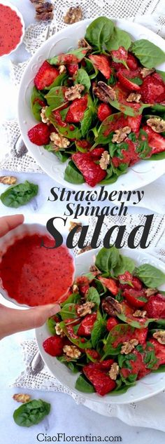 Food recipe – Strawberry Spinach Salad Recipe with Lemon Poppyseed Dressing Spinach Salad Recipes, Healthy Salad Recipes, Vegetarian Recipes, Cooking Recipes, Spinach Soup, Vegetarian Salad, Cooking Tips, Strawberry Walnut Salad, Spinach Strawberry Salad