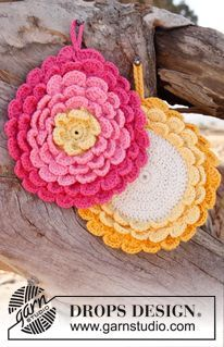 Crochet DROPS pot holder .....But....ideal to start off a flower cushion (Like Lucy's). Thanks so xox