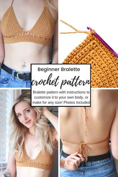 Beginner Bralette Pattern with Tutorial Beginner Bralette Pattern with Tutorial K P K P Make this bralette and customize it to your body any size any shape any body measurements hellip pattern crop tops Bralette Pattern, Crochet Bikini Pattern, Crochet Crop Top, Swimsuit Pattern, Crochet Shorts, Diy Crochet Bralette, Crochet Tops, Easy Knitting Projects, Easy Knitting Patterns