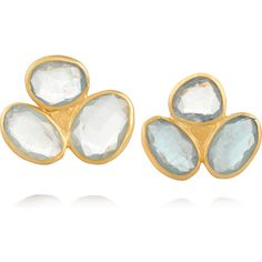 Pippa Small 18-karat gold aquamarine earrings ($510) ❤ liked on Polyvore featuring jewelry, earrings, gold, pink jewelry, cocktail earrings, aquamarine earrings, holiday jewelry und post earrings