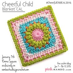 Cheerful Child is a baby blanket CAL on pinkmambo.com that appears every Monday and Thursday January 7-February18, 2016. It features granny-style blocks in a variety of designs, all on the easy side. Its skill level is adventurous beginner, which means the crocheter has knowledge of the basic stitches and is ready to take on a larger, more involved project with a little more texture and combinations of stitches. Experienced crocheters will enjoy the fun of making these fresh and pretty…