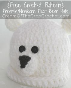 You will love this Preemie/Newborn Polar Bear Hats! I love polar bears so I knew I had to make a preemie/newborn polar bear…