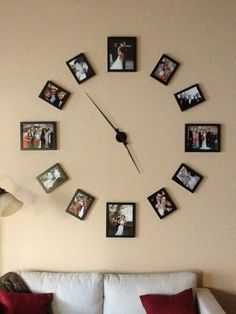 DIY Wall Clock Ideas Clocks are useful in any room of the house. When used as wall decor, they are little pieces of art and useful at the same time. Huge Wall Clock, Wall Clock Kits, Big Clocks, Frame Wall Collage, Frames On Wall, Simple Interior, Diy Interior, Wall Clock With Pictures, Photo Wall Clocks
