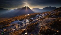 """Sun Rays from Chlaidheimh"", Beinn a' Chlaidheimh and Ruadh Stac Mor from An Teallach, Dundonnell, Wester Ross, Scotland"