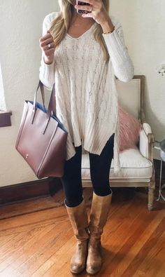 d3bc98a2fa43 Skinny jeans oversized jumper and knee high boots! Love winter ❤ Chunky  Sweater Outfit