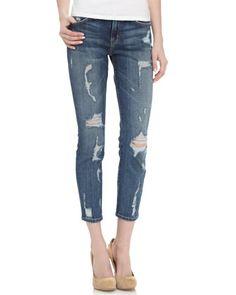 { Stiletto Skinny Jeans in Dark Shredded }