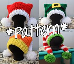 INSTANT DOWNLOAD -- Double Tail Holiday Hat Beanie - Crochet Pattern - Adult Teen Toddler Baby Sizes