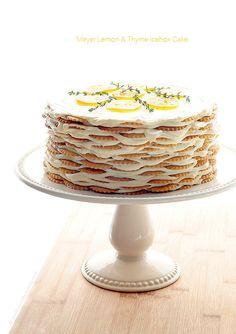 Make this no-bake icebox cake - but no thyme. Meyer Lemon and Thyme Icebox Cake Recipe Icebox Cake Recipes, Cupcake Recipes, Cupcake Cakes, Dessert Recipes, Dessert Healthy, Cupcakes, Mets, How Sweet Eats, No Bake Desserts