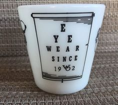 Vintage Pyrex 1410 Eyewear Optical Eye Chart Coffee Mug