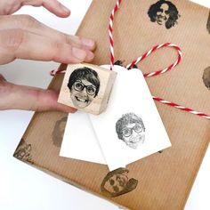 Custom portrait stamp with your face, fun wrapping paper for families, family portrait custom stamp set, personalized family portrait stamp Original Gifts, Some Text, Custom Stamps, Christmas Holidays, Happy Holidays, Customized Gifts, Wraps, Wrapping, Make It Yourself