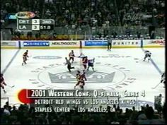 2001 Playoffs: LA Kings (Part 3 of 4) Game 4 - The Frenzy on Figueroa: The Kings scored 3 goals late in the 3rd to send the game into overtime. Eric Belanger completes the comeback. Here's the call by two guys not Bob and Jim.