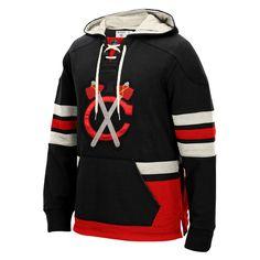 Men's Chicago Blackhawks CCM Black Alternate Logo Pullover Hoodie