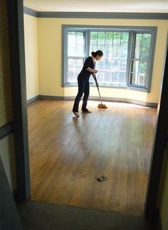 How To Clean, Gloss Up, And Seal Dull Old Hardwood Floors, by Young House Love || @younghouselove