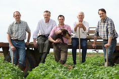 Les cinq producteurs de la Pompadour Label Rouge réunis : Jean-François, Marc-Antoine, Benoît, Audouin et Olivier.
