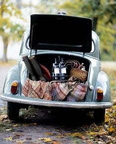 ahh picnic, pretty old car and rainboots