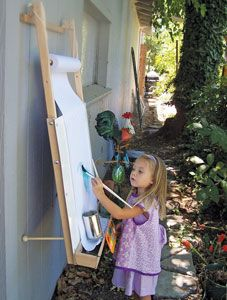 Hanging Easel, Shown in Use. This looks too good to be true... adjust from toddler height to kid height ?!