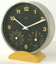 0-007096>Weather Station Wall Clock Black