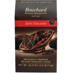 When you think 'gourmet chocolate' you'll think of Bouchard Belgian Chocolate from now on. This 35.27-Ounce box is filled with individually wrapped dark chocolate pieces that are made with 72% cacao, which have up to 50% less sugar than other milk chocolate bars.  These decadent dark chocolate pieces are an excellent source of fiber and iron, and are also suitable for vegans. Fill up a candy jar, or just grab a handful of Bouchard's Belgian Dark Chocolate pieces and indulge yourself! Belgian Chocolate, Chocolate Bars, Sources Of Fiber, Candy Jars, Vegans, Chocolates, Fill, Iron, Sugar