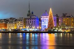 Photo about Night winter scenery of the Old Town (Gamla Stan) with Christmas Tree in Stockholm, Sweden. Image of celebrating, pier, scenery - 28359108 Maria Amelia, Christmas Markets Europe, Winter Scenery, Stockholm Sweden, Christmas Photos, Christmas Time, Christmas Inspiration, Christmas Traditions, Old Town