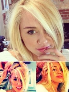 Pictures : Miley Cyrus - Miley Cyrus New Blonde Bob Hairstyle