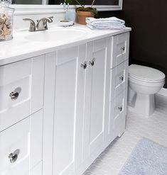 Budget bathroom - Vanity - $322 at Lowe's, Vanity top - $129 at Lowe's, Faucet - $43 at Home Depot, Sideplash - $14 at Home Depot, octagonal floor tiles