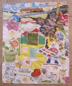 my bonny LONGFELLOW'S  POETIC COTTAGE  Folk Art  Fabric Collage - Vintage Materials Patchwork Assemblage Random Scraps