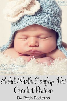 Crochet Pattern - A gorgeous earflap hat crochet pattern that features a pretty shell stitch designs. Includes all sizes. By Posh Patterns.