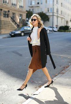 Suede Skirt, Lace-Up Heels | MemorandumMEMORANDUM, formerly The Classy Cubicle by @mayorton