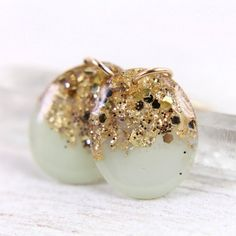 mint earrings with gold leaf and glitter on 14k by tinygalaxies