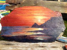 Constantine sunset, Cornwall, acrylic on slate Painted Slate, Cornwall, Paintings, Crafty, Sunset, Ideas, Art, Sunsets, Art Background