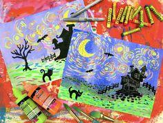 Cassie Stephens: In the Art Room: Spooky Starry Night Art Lessons For Kids, Art Lessons Elementary, Art For Kids, Kid Art, Big Kids, Halloween Art Projects, Fall Art Projects, Diy Projects, Halloween Kids