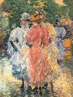 Conversation on the Avenue, Frederick Childe Hassam. American Impressionist Painter (1859 - 1935)