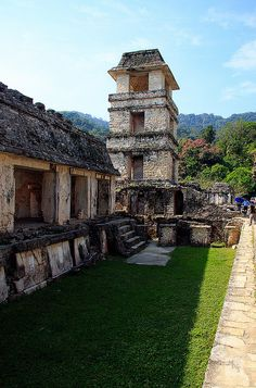 Palace tower, Mayan site of Palenque, Mexico