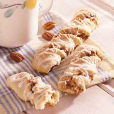 This quick pecan pastry is filled with a sweet nut mixture and has a maple-flavored glaze.