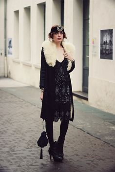 Beaded Flapper Dress, Vintage Coat, Contemporary Booties - perfect for day -to-evening transition in the holiday season.