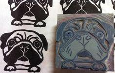 "Pug Stamp Hand Carved Linoleum 2"" x 2""- by ayu tomikawa"