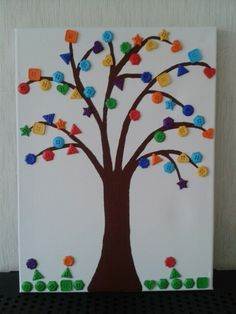 Button tree - Fun with the little one Button Tree, Homemade Crafts, Frame, Fun, Home Decor, Homemade Home Decor, A Frame, Frames, Hoop