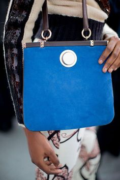 Deep blue suede bags for fall