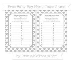 Pastel Light Grey Heart Pattern  Baby Boy Name Race Game