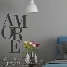 Removable vinyl wall art, quotes and decals for your home. Italian Word For Love, Wall Art Designs, Wall Design, Vinyl Wall Decals, Wall Stickers, Love Wall, Window Decals, Valentine Gifts, Wall Quotes