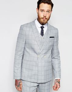 ASOS Skinny Double Breasted Suit Jacket In Light Blue Check