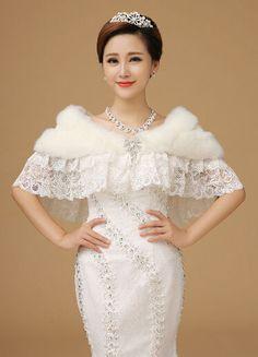 87882369ab3 Ivory Faux Fur Winter Women Outdoor Wedding Bridal Wrap Jacket Coat Shawl   WrapsShawls Wedding Coat