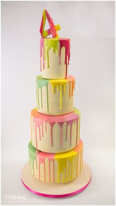 Dripping rainbow cake by daddy Sweet 16 Cakes, Cute Cakes, Yummy Cakes, Cupcake Cake Designs, Cupcake Cakes, 15th Birthday Cakes, Twin Birthday, Birthday Parties, Drippy Cakes