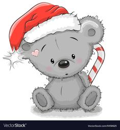 Find Cute Cartoon Teddy Bear Santa Hat stock images in HD and millions of other royalty-free stock photos, illustrations and vectors in the Shutterstock collection. Thousands of new, high-quality pictures added every day. Christmas Teddy Bear, Christmas Hat, Christmas Animals, Christmas Pictures, Xmas Drawing, Christmas Drawing, Christmas Paintings, Cartoon Cartoon, Santa Cartoon
