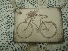 French Bicycle and Flower Basket Tags