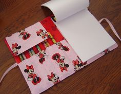Minnie Mouse Disney Pink and Red Fabric Children's Travel Art Portfolio or Sketch Book With Crayola Twistable Crayons.