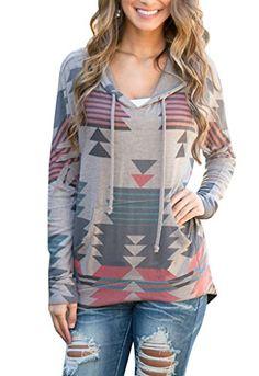 FanShou Women Geometrical Printed Kangaroo Pocket Pullover Hoodie Sweatshirt * You can get additional details at the image link.