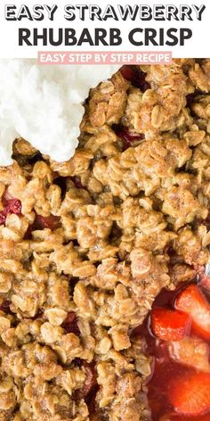 Strawberry Rhubarb Crisp is the perfect summer dessert! Easier to make than pie and prepped in just minutes. A delicious dessert made with juicy fruit and topped with a crunchy oatmeal streusel that is perfect for BBQ parties and get-togethers! Easy No Bake Desserts, Dessert Recipes, Party Recipes, Delicious Desserts, Easy Party Food, Party Food And Drinks, Strawberry Rhubarb Crisp, Strawberry Desserts, Rhubarb Cookies