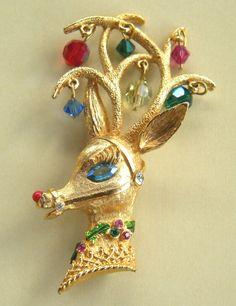 vintage Reindeer Christmas brooch